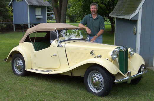 Dave with his restored MG TD in September, 2008=