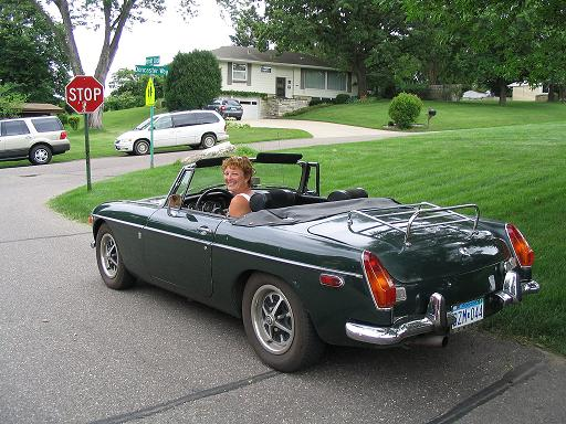 Diane and her MGB in June of 2005
